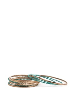 Green and Gold Bangles (Set of 10) - Toniq