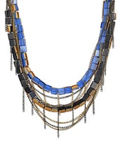 Blue And Gunmetal Multi-layered Necklace With Glass Beads - ChicKraft