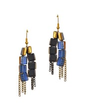Blue Glass Beads And Metal Chain Stylish Earrings - ChicKraft