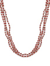 Red And Silver Glass Beads Trendy Necklace With A Satin Ribbon Closure - ChicKraft