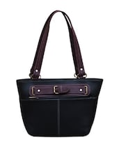 Purple Detail Black Trapeze Bag - FOSTELO