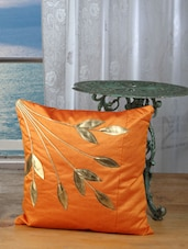Orange Cushion Covers With Golden Leaves (set Of 5) - Dekor World