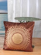 Brown Cotton Golden Print Cushion Cover (set Of 5) - Dekor World