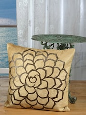 Beige Cotton Velvet Rose Bronze Print Cushion Cover (Pack Of 5) - Dekor World