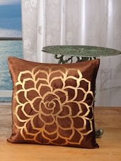 Brown Cotton Velvet Rose Golden Print Cushion Cover (Pack Of 5) - Dekor World