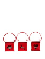 Red 3 Piece Candle Holder With Tea Lights - Dekor World
