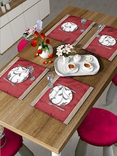 Set Of 6 Red And Gold Table Mats - By
