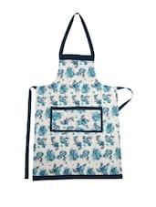 White Base Cotton Apron With Blue Floral  Prints - Dekor World