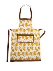 White Base Cotton Apron With Yellow Floral  Prints - Dekor World