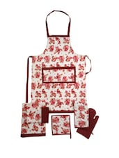 White Base Apron With Floral Print Combo. Set Of 6 Pieces - Dekor World