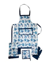 White Base Apron With Blue Floral Print Combo. Set Of 6 Pieces - Dekor World