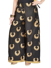 Black Cotton Palazzo Pants With Golden Block Prints - 9rasa