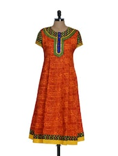 Festive Bright Orange In Cotton With Embroidered Patch On The Neck - Tanisi