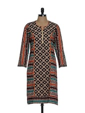 Black Printed Kurta With Metal Butterfly Studs - Tanisi
