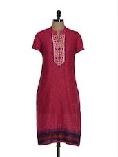 Elegant Red Cotton Kurta With Embroidery And Mirror Work - Tanisi