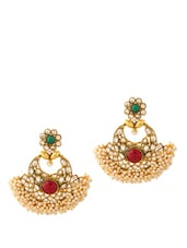 Earrings With Green And Red Stones - Voylla