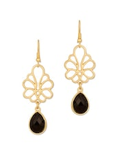 Gold Earrings With Black Stone Drops - Voylla