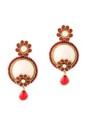 Earrings Embellished With Pearls And Red Stones - Voylla