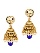 Golden Peacock Earrings With Blue Stones - Voylla