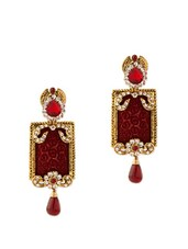 Kundankari Dangler Earrings Studded With Crystals And Huge Maroon Color Stone - Voylla