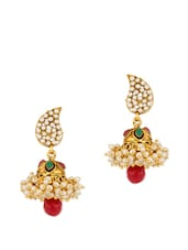 Gold Plated Paisley Earrings Studded With Pearls And Colored Stones - Voylla