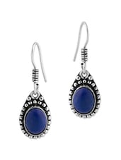 Exquisite Pair Of Dangler Earrings Studded With Blue Color Stone - Voylla