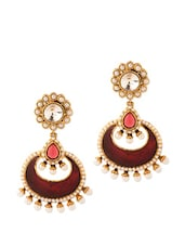 Endearing Pair Of Dangler Earrings With Pearls And Red Color Stones - Voylla