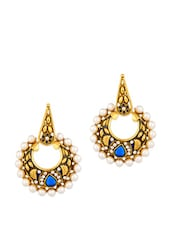 Gold Plated Earrings Featuring Meenakari Work And Pearls - Voylla