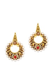 Gold Plated Red Crescent Curve Earrings With Meenakari Work And Pearl Beads - Voylla
