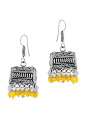 Stunning Jhumki Earrings In Box Shape Studded With Yellow Color Beads - Voylla