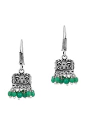 Alluring Pair Of Small Jhumki Earrings In Box Shape With Green Stones - Voylla