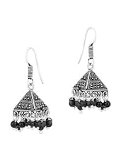 Oxidized Pair Of Pyramid Shape Jhumki Earrings With Black Beads - Voylla