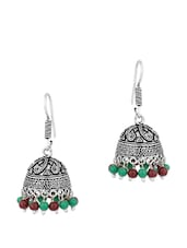 Fascinating Dome Shape Jhumkis With Green And Brown Beads - Voylla