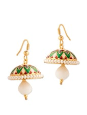 Dome Shape Jhumkis With Pearls And White Color Stone - Voylla