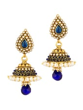 Gold Plated Blue Tear Drop Jhumki Drops With Gold Plating - Voylla