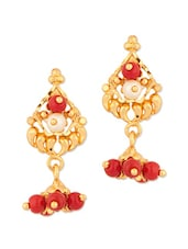 Exotic Stud Earrings With Pearls And Maroon Color Beads - Voylla