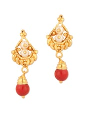 Stud Earrings Studded With Pearls And Red Drop - Voylla