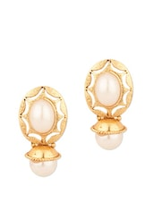 Oval Shape Stud Earrings With Pearls - Voylla