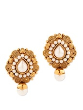 Pleasing Tear Drop Shape Stud Earrings With Pearls - Voylla