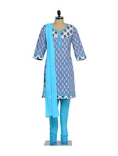 Set Of Blue And White Printed Kurta And Churidaar With Dupatta - KURTAWALA