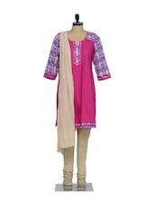 Fuchsia Pink Kurta With Purple & White Detailing ,Cream Cotton Churidaar & Cream Chiffon Dupatta - KURTAWALA