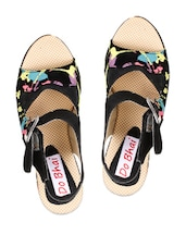 Black Sandal With Colorful Splashes In High Heels - Stylistry