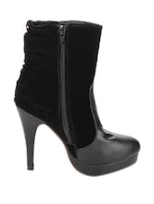 Black Suede And Leather Boots With Stone Embellishment - Stylistry