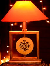 Hand Carved Wooden Brown Lamp - Unravel India