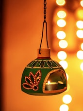 Terracotta Hand Painted Hanging T-light - Unravel India