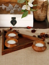 Wooden 3 Tea-light Set With Base Tray - Unravel India