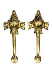 Ganesha Trunk Brass Door Handle(Set Of 2) - Unravel India