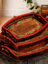 Hand Painted Set Of 3 Trays - Unravel India