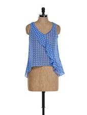 Blue Sleeveless Ruffled Top - NUN