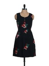 Black Rose Print Sleeveless Dress - NUN